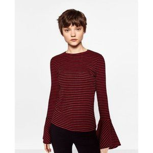 Zara Red & Black Striped Bell Sleeve Knit Top SM